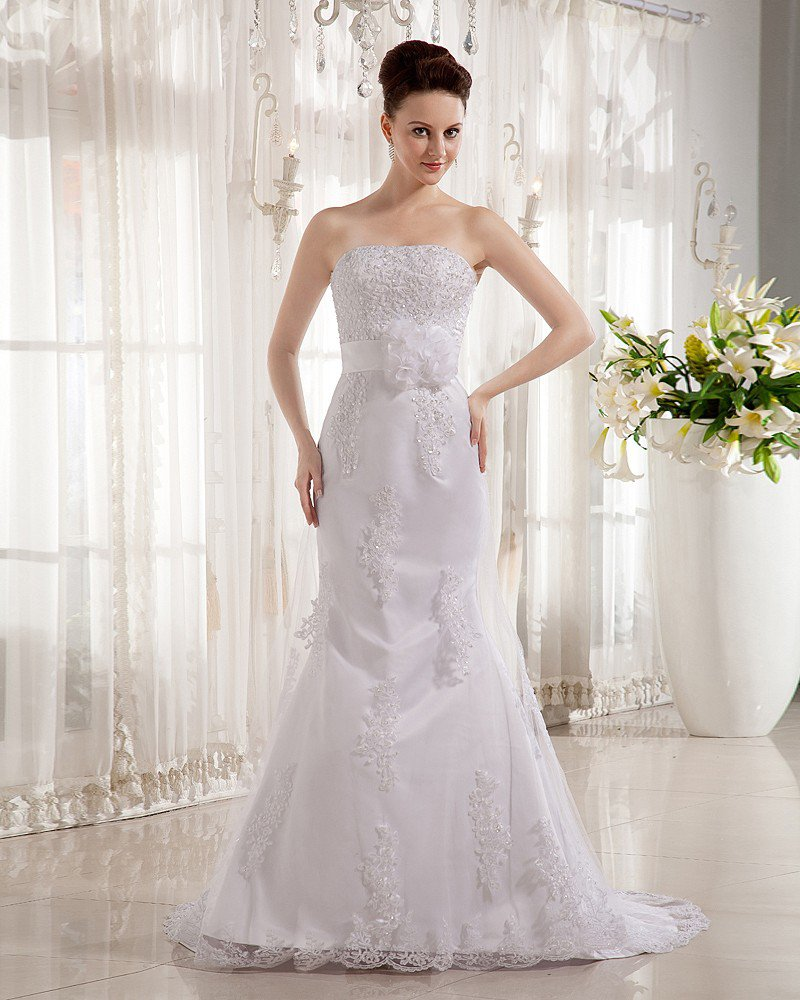 Satin Beading Applique Strapless Chapel Train Sheath Wedding Dresses
