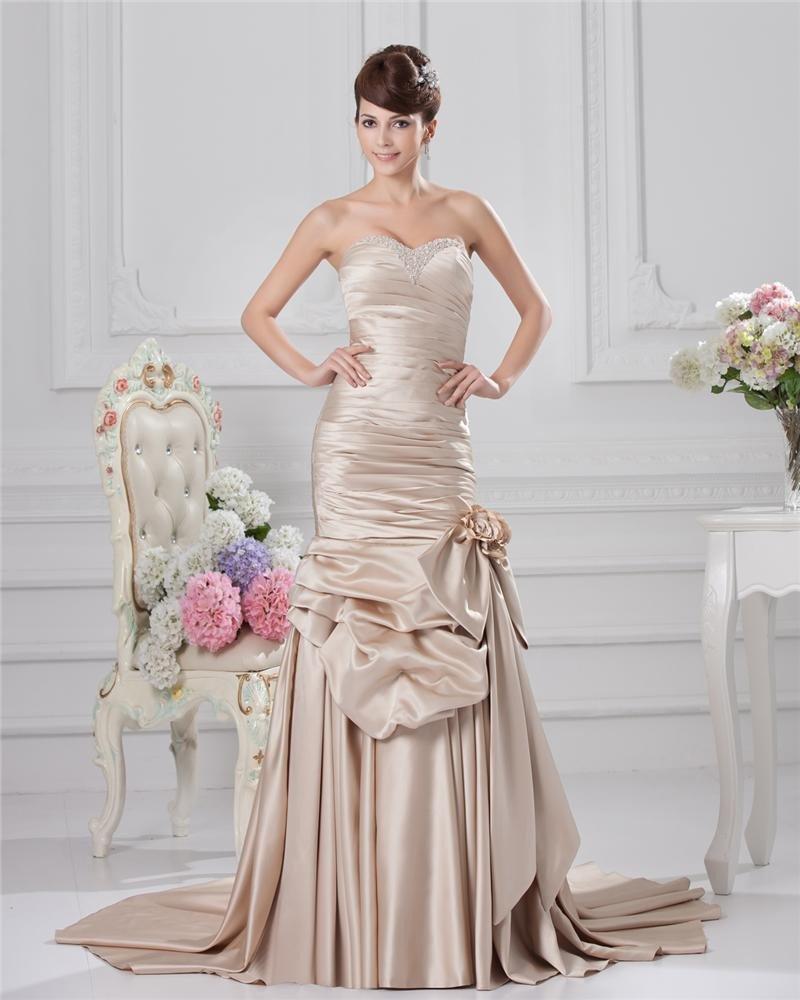 Sweetheart Pleated Floor Length Bowknot Satin Sheath Wedding Dress