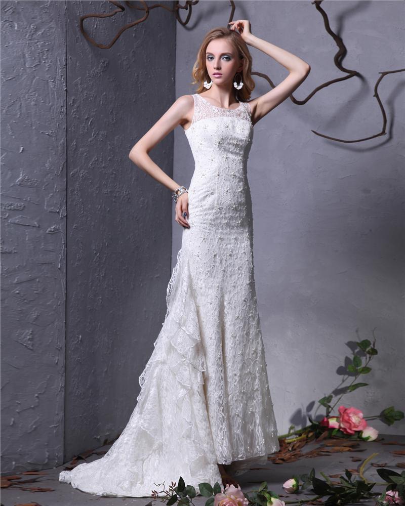 Jewel Bead Floor Length Lace Sheath Wedding Dress