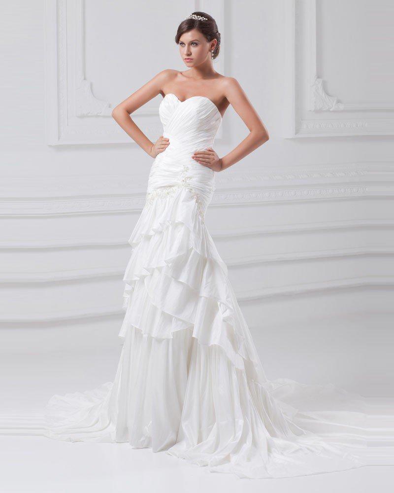 Taffeta Flower Applique Sequins Sweetheart Court Train Tiered Sheath Wedding Dress