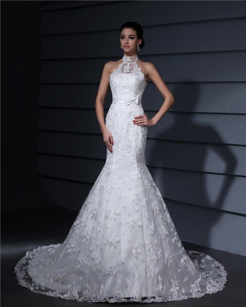 High Neck Lace Applique Court Sheath Bridal Gown Wedding Dress