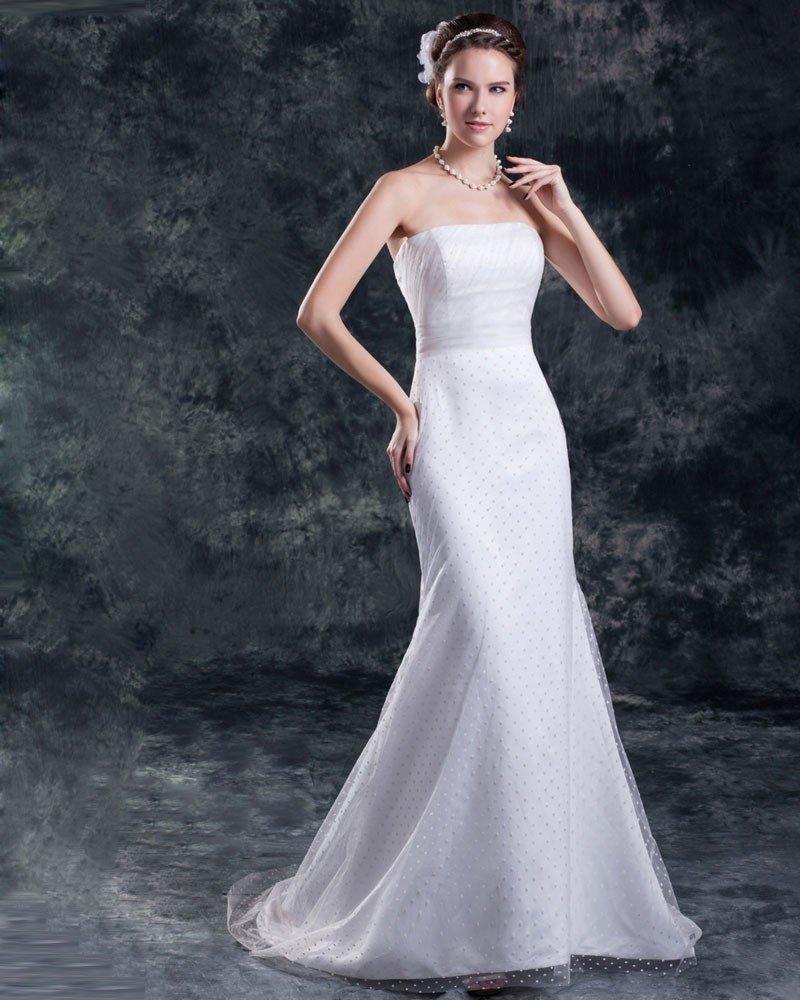 Tulle Strapless Floor Length Mermaid Sheath Wedding Dress