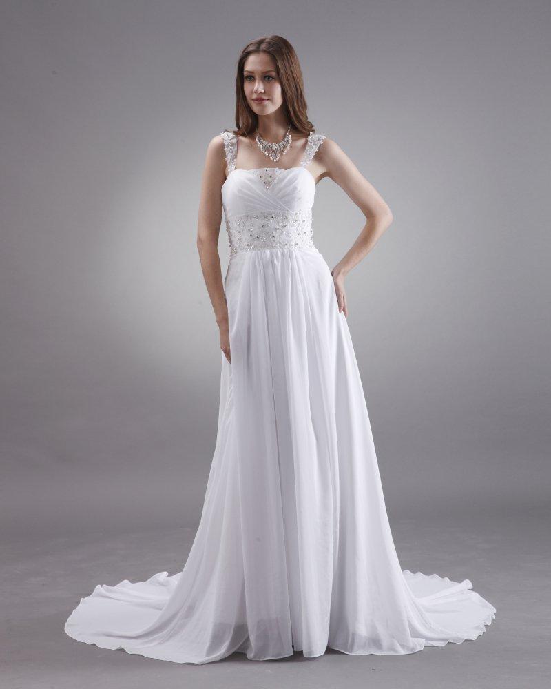 A-line Beaded Spaghetti Straps Sweep Train Satin Chiffon Bridal Gown Wedding Dress