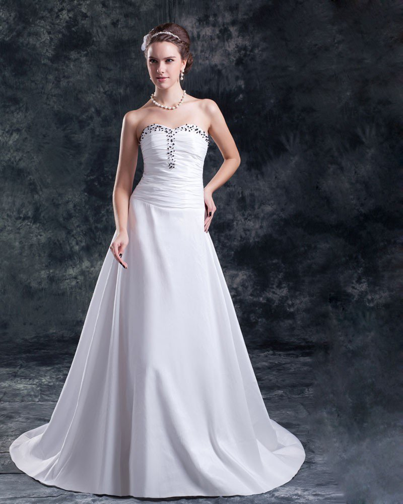 Taffeta Sequins Ruffle Floor Length Sweetheart Sheath Wedding Dress