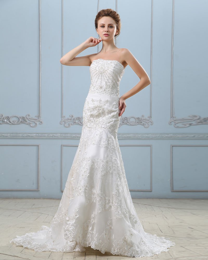 Embroidery Beading Strapless Chapel Train Satin Sheath Wedding Dress