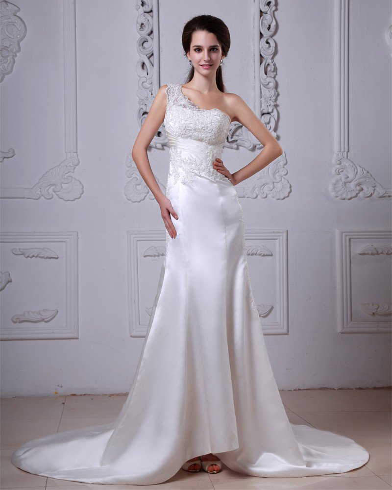Charmeuse Applique Ruffles One Shoulder Cathedral Train Sheath Wedding Dresses