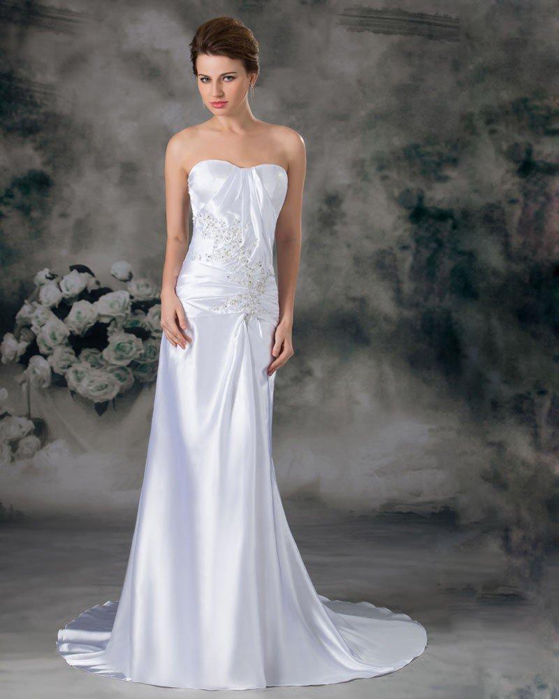 Charmeuse Sequins Sweetheart Court Train Sheath Wedding Dress