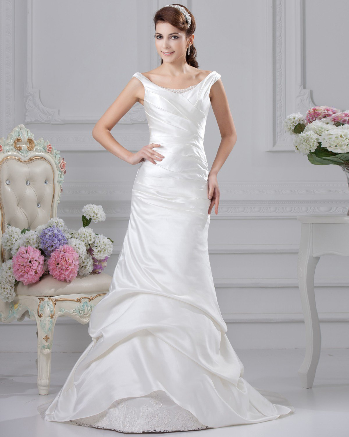 Off Shoulder Ruffle Beading Floor Length Satin Sheath Wedding Dress