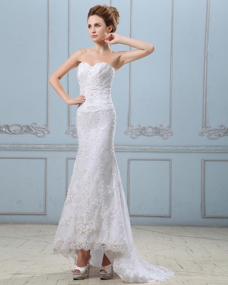 Embroidery Beading Sequins Lace Up Back Satin Sheath Wedding Dress