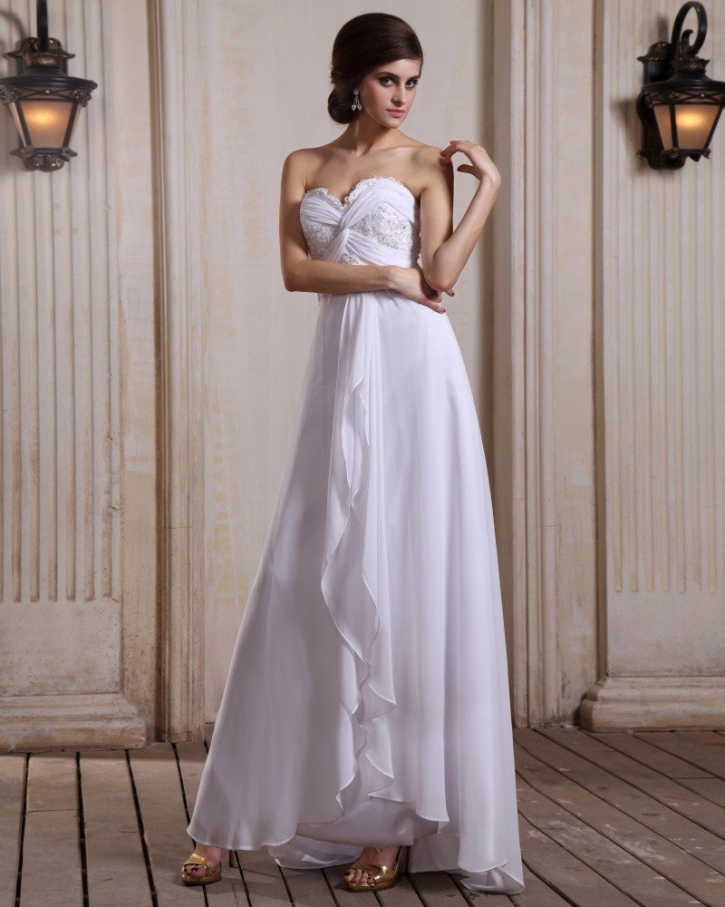Chiffon Ruffle Sweetheart Sweep Sheath Bridal Gown Wedding Dress