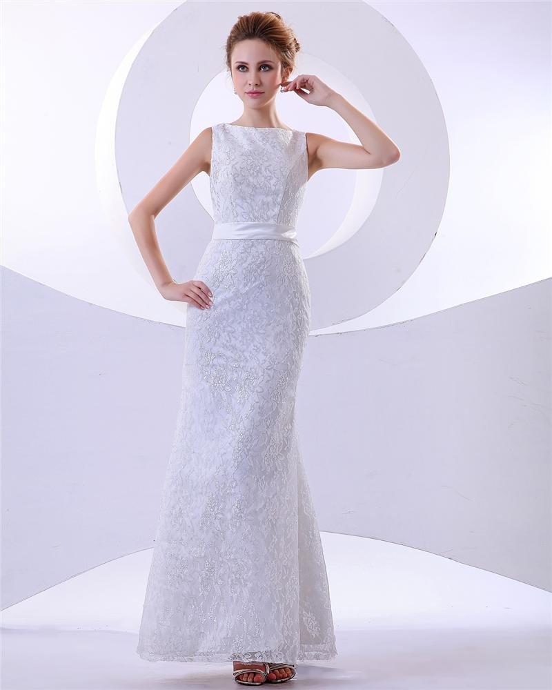 Elegant Floor Length Satin Beading Lace Sheath Wedding Dress
