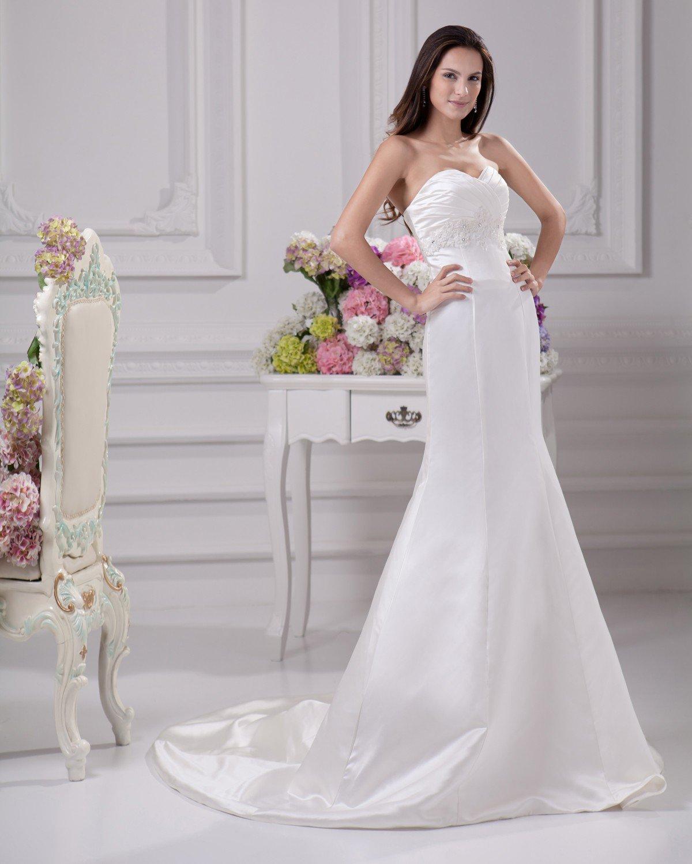 Elegant Sweetheart Beading Ruffles Floor Length Court Train Satin Sheath Wedding Dress