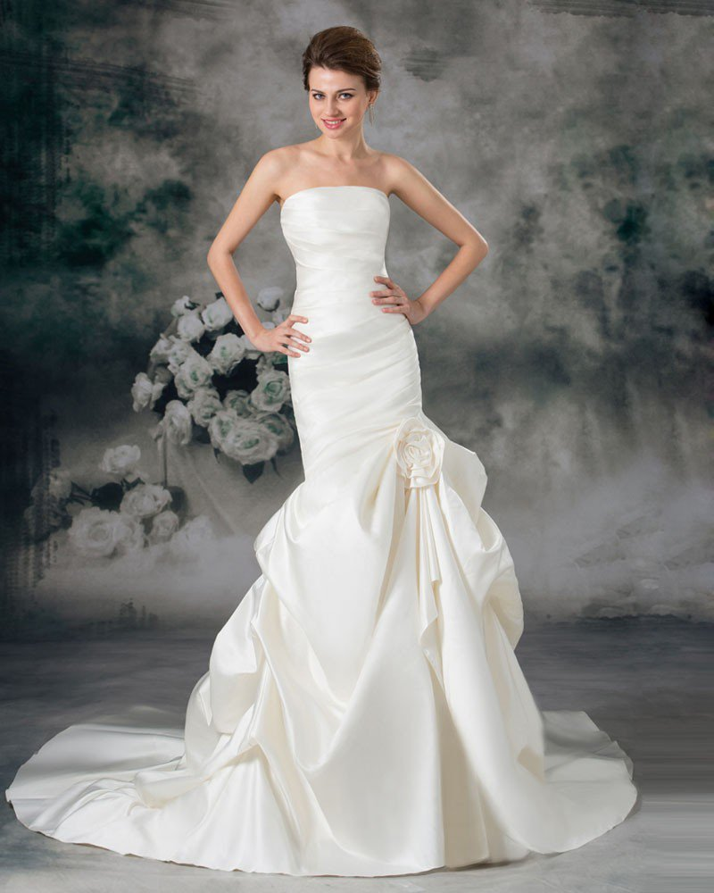 Satin Ruffle Flower Strapless Court Train Sheath Wedding Dress