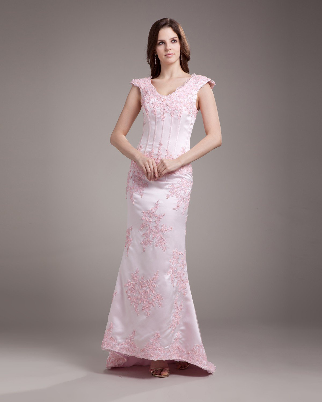 V Neck Applique Beading Floor Length Satin Sheath Wedding Dress