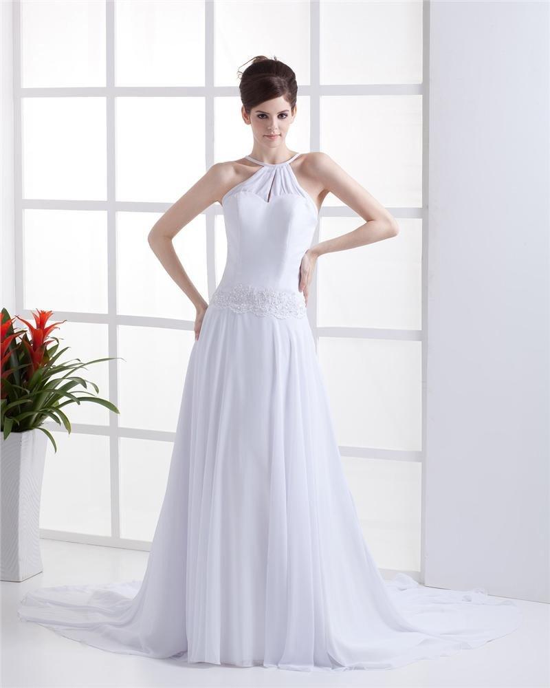 Sheath Halter Chiffon Wedding Dress