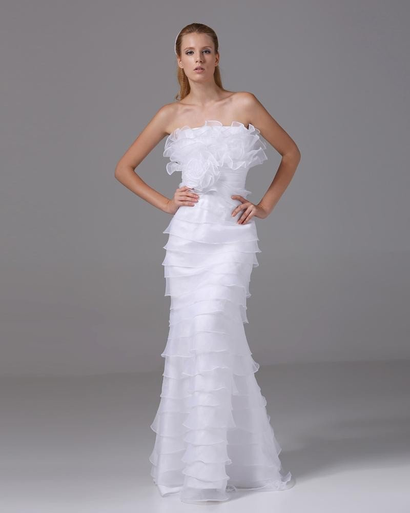 Charming Style Strapless Floor Length Ruffles Organza Women Sheath Wedding Dress