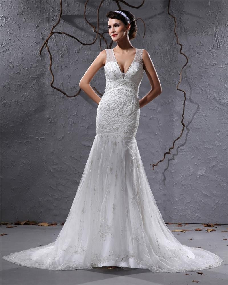 Beautiful V-Neck Cathedral Train Organza Beading Sheath Wedding Dress
