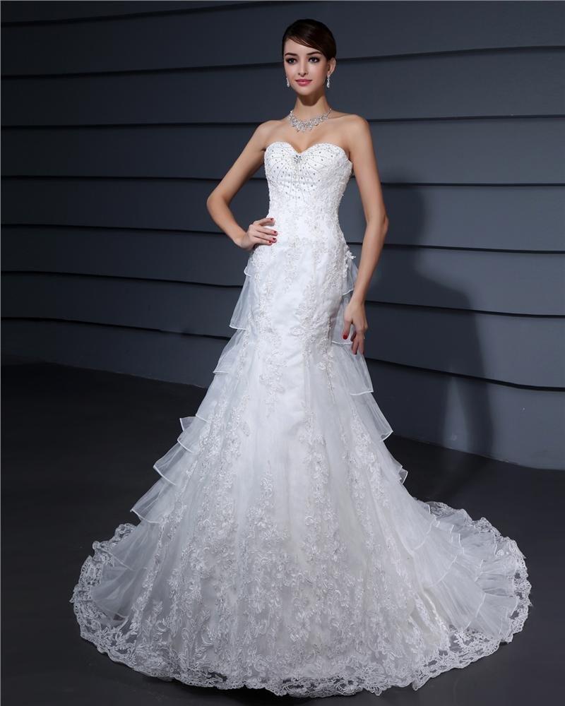 Organza Sweetheart Court Sheath Bridal Gown Wedding Dress