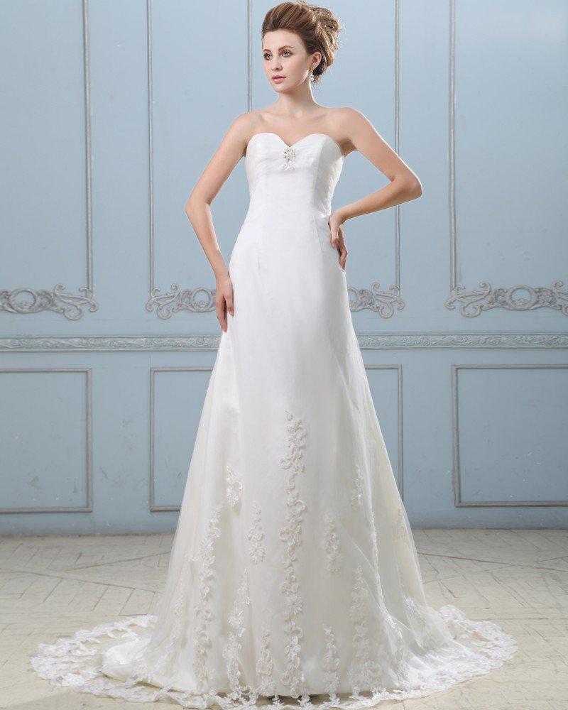 Stylish Beading Strapless Sweep Floor Length Lace Sheath Wedding Dress