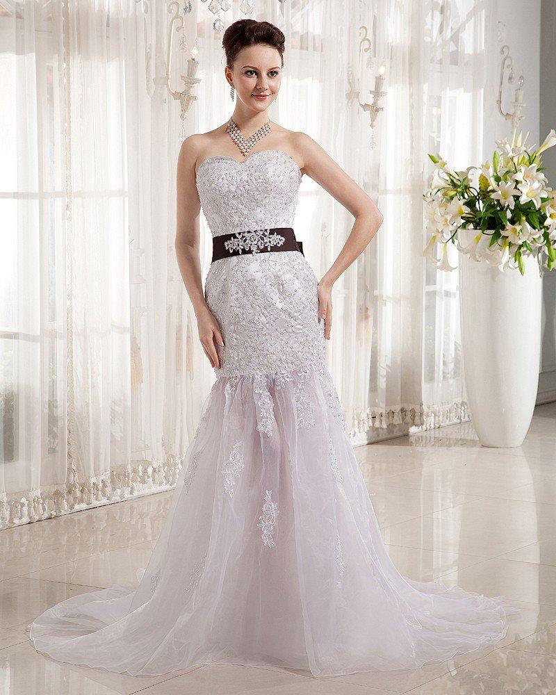 Beading Tulle Satin Ruffles Sweetheart Cathedral Train Sheath Wedding Dresses