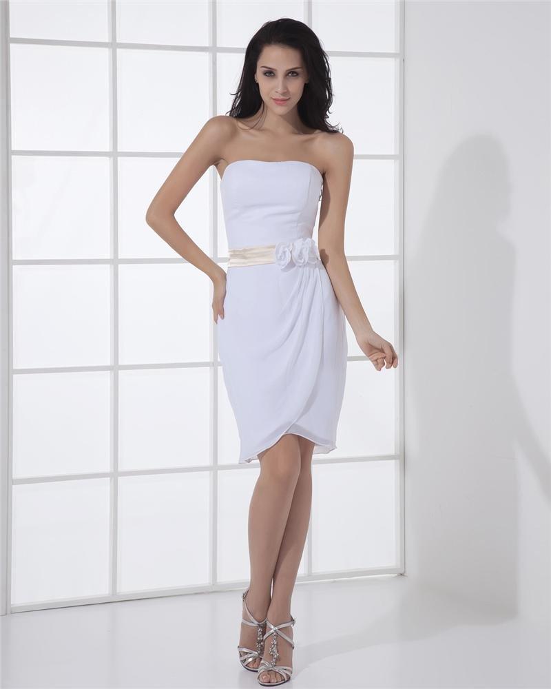 Chiffon Charmeuse Strapless Flower Sleeveless Zipper A Line Mini Wedding Dress