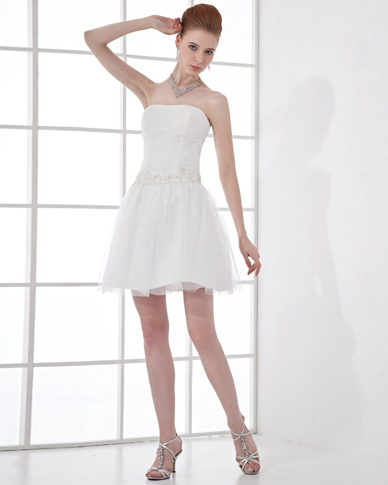 Fashion Tulle Pleated Beaded Strapless Thigh Length Mini Wedding Dress
