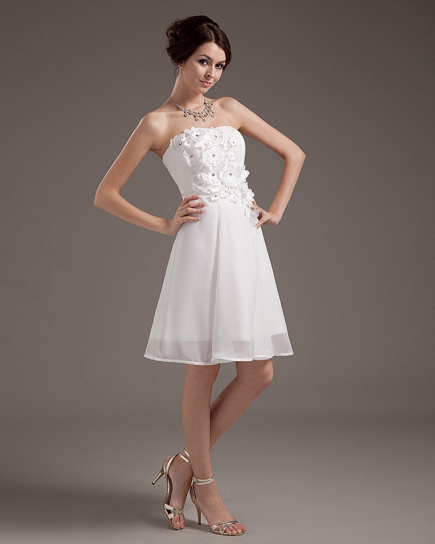 Applique Chiffon Sleeveless Sweetheart Short Mini Wedding Dresses