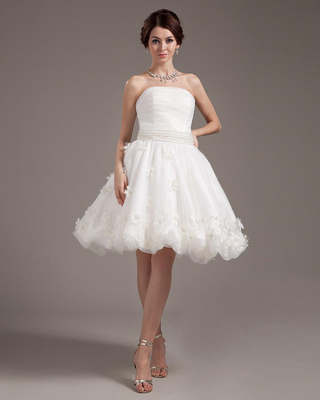 Applique Ruffles Yarn Sleeveless Strapless Short Mini Wedding Dresses