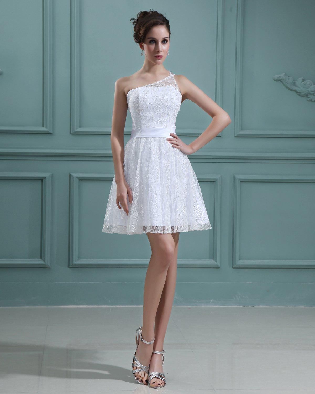 Beading Lace Satin Sleeveless One Shoulder Short Mini Wedding Dresses