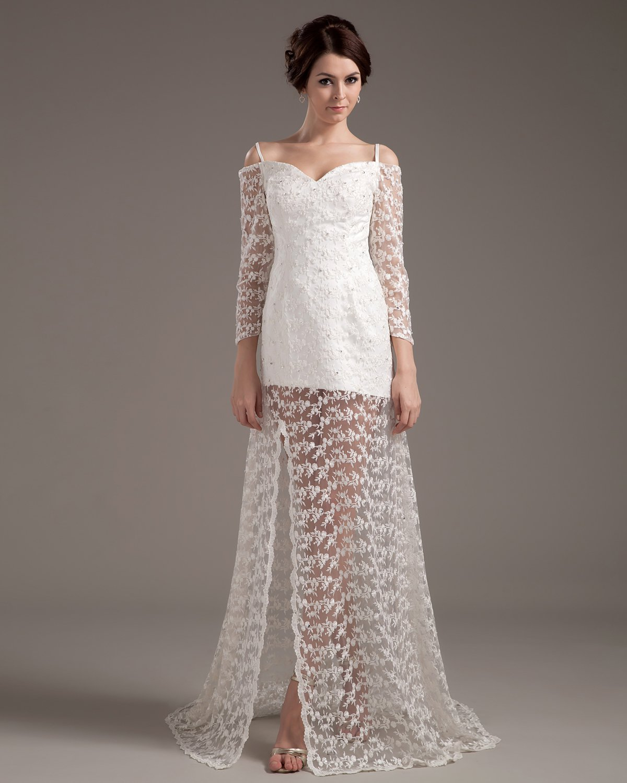 Beautiful A-Line Sweetheart Satin Lace Short Mini Wedding Dress