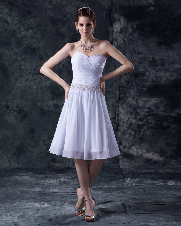 Charming Satin Yarn Beading Sweetheart Short Bridal Gown Wedding Dress