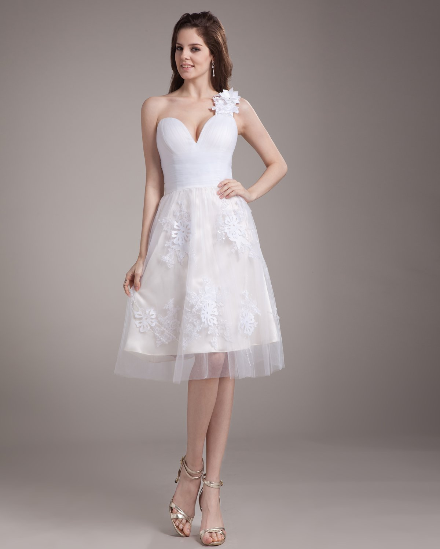 Elegant Applique Ruffles One Shoulder Knee Length Satin Yarn Mini Wedding Dress