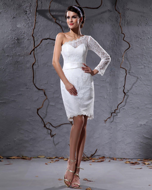 Elegant Lace Satin Sloping One Sleeve Knee Length Short Mini Wedding Dress