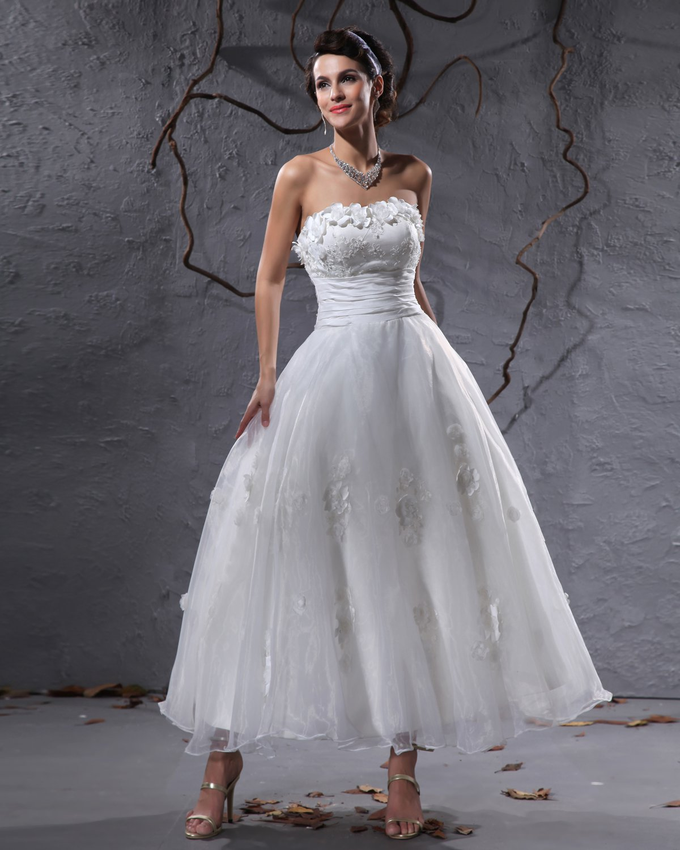 Elegant Taffeta Yarn Applique Beaded Strapless Ankle Length Short Mini Wedding Dress