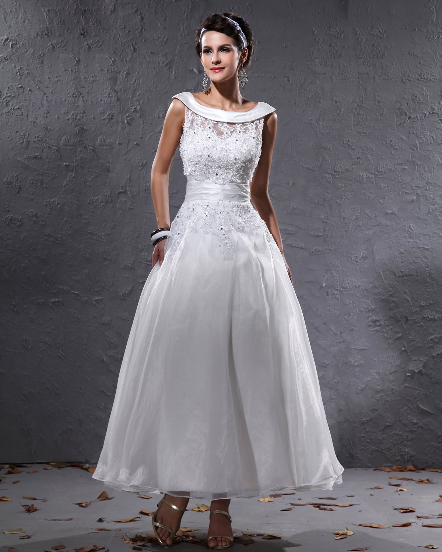 Elegant Yarn Charmeuse Beaded Crew Neck Short Mini Wedding Dress