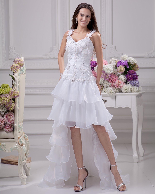 Fashion Applique Beading Floor Length Spaghetti Strap Satin Organza Lace Asymmetric Mini High Low We