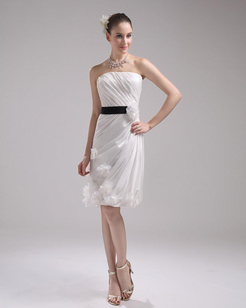 Fashion Taffeta Satin Pleated Strapless Knee-Length Mini Wedding Dress