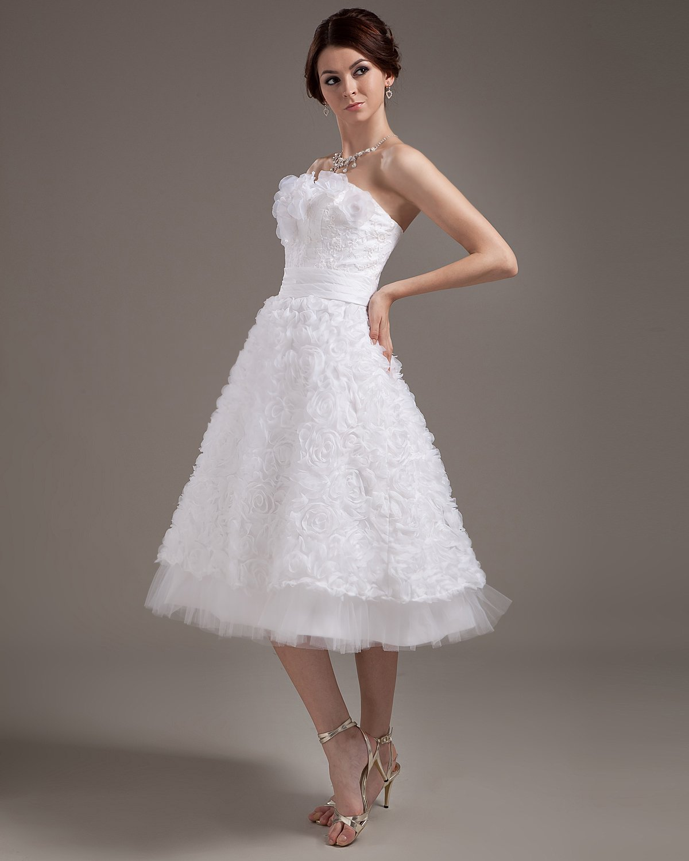 Fashionable Satin Applique Strapless Tea-Length Mini Wedding Dresses