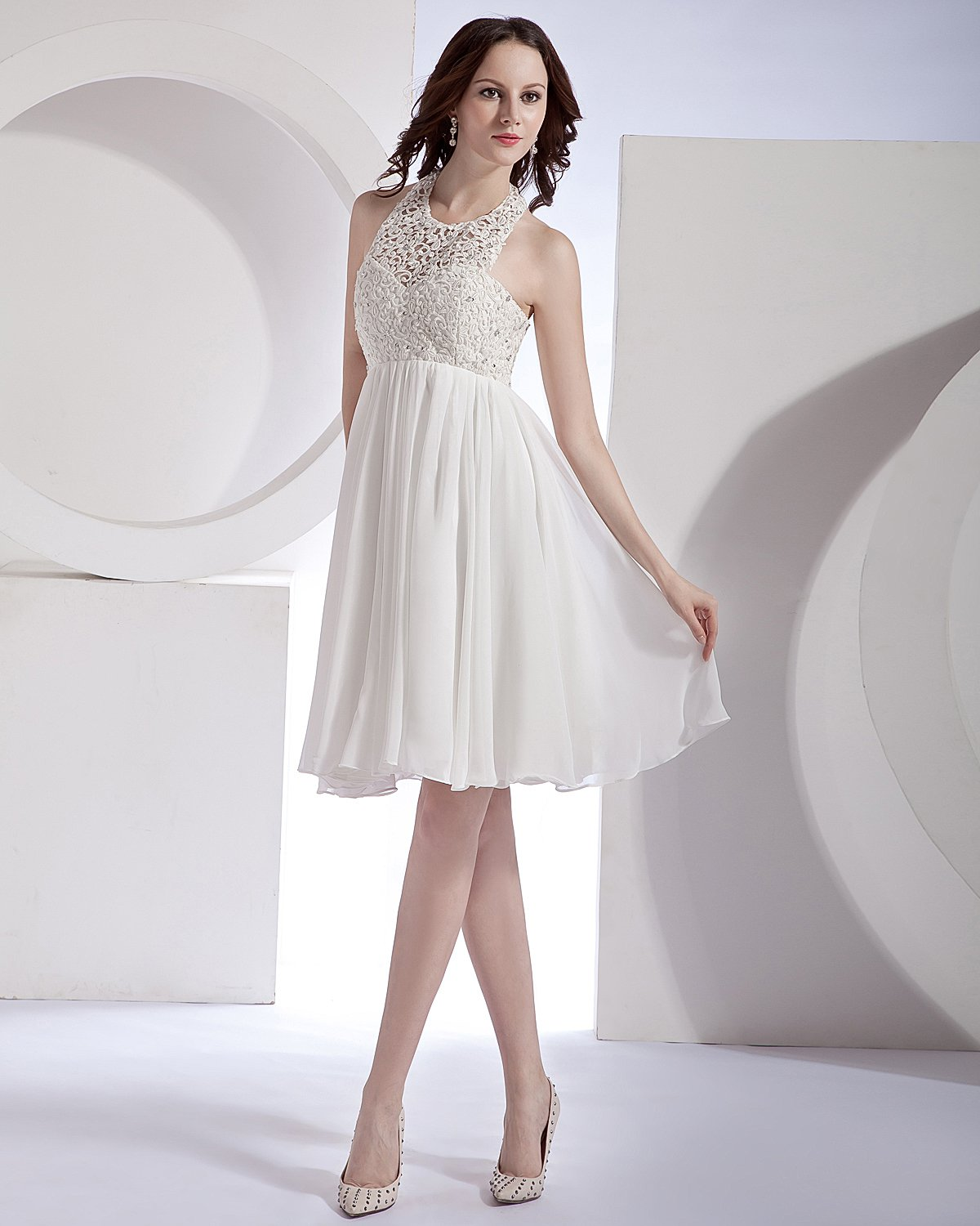 Hollow-Out Organza Chiffon Lace Halter Mini Bridal Gown Wedding Dress