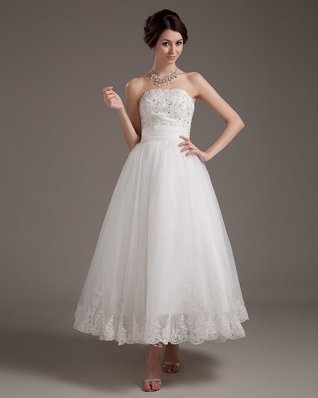 Lace Applique Satin Yarn Strapless Short Mini Wedding Dresses