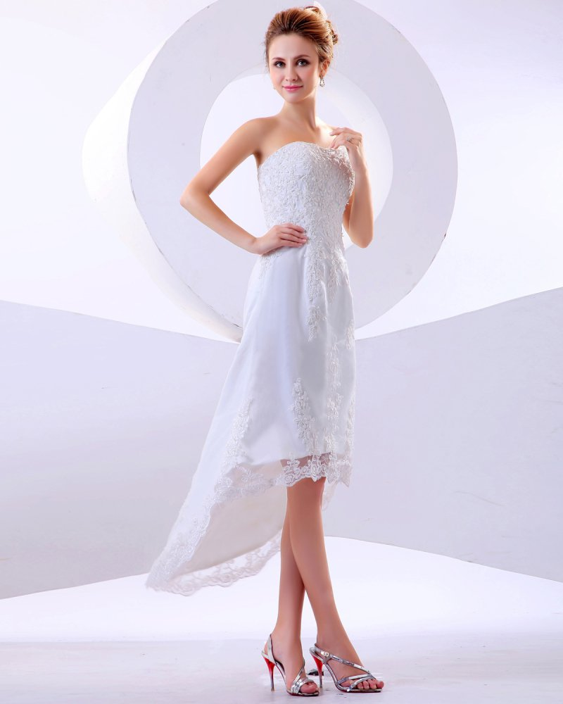 Lace Ruffle Strapless Short Bridal Gown Wedding Dress