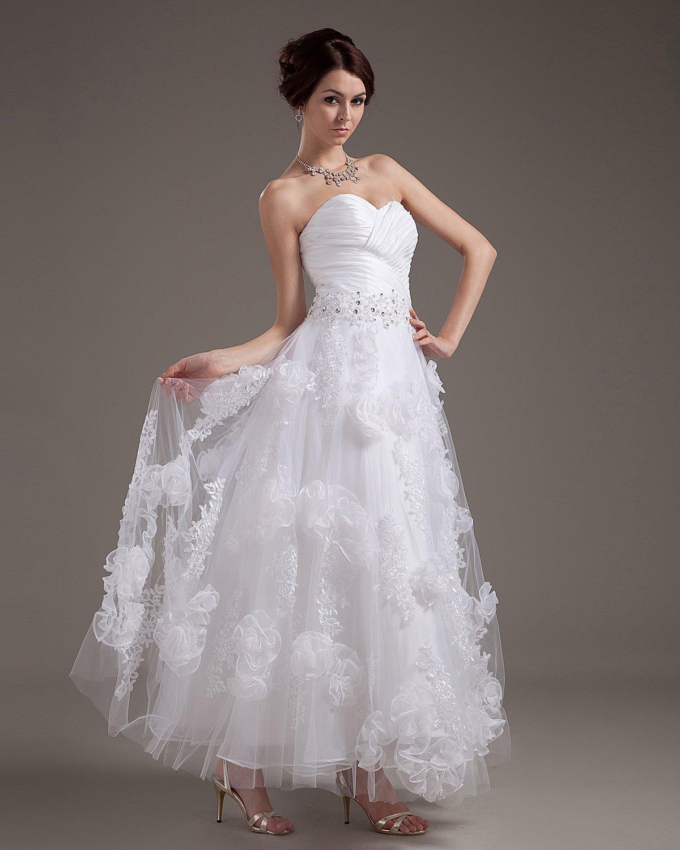 Organza Applique Sweetheart Short Bridal Gown Wedding Dress