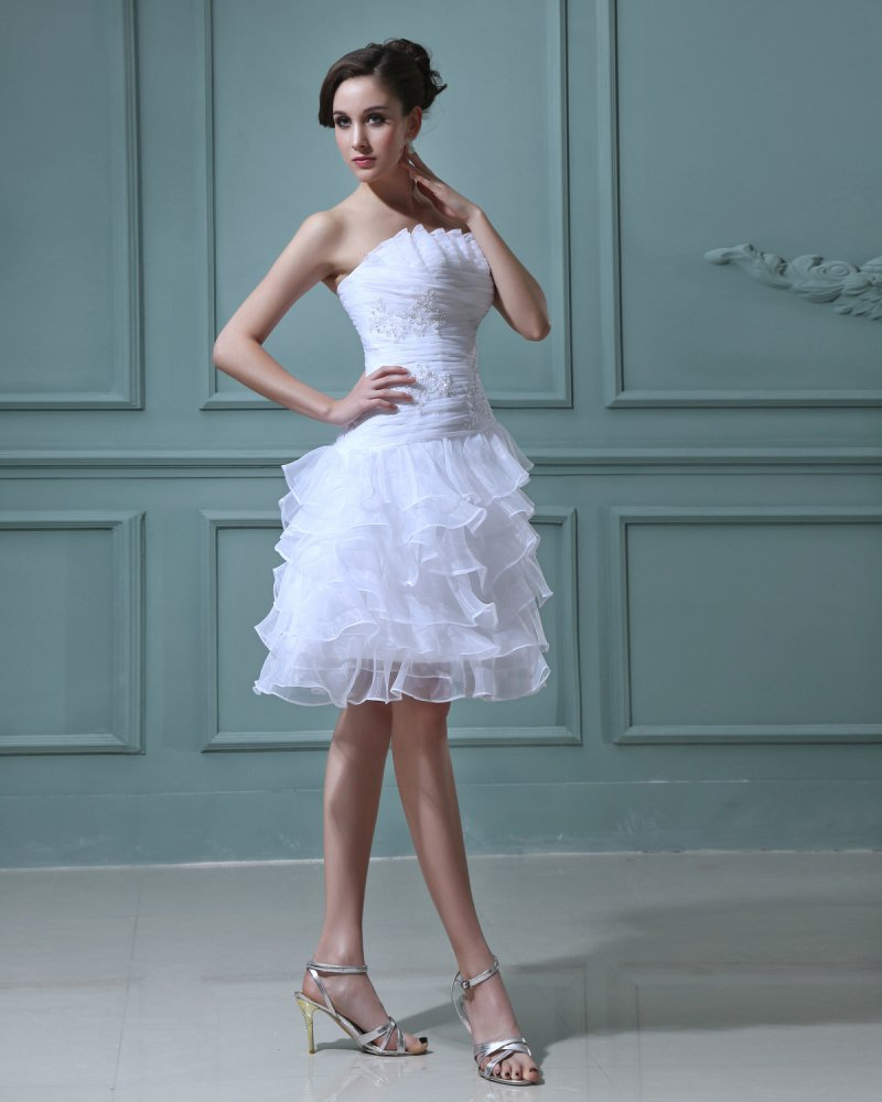 Organza Layered Short Bridal Gown Wedding Dress