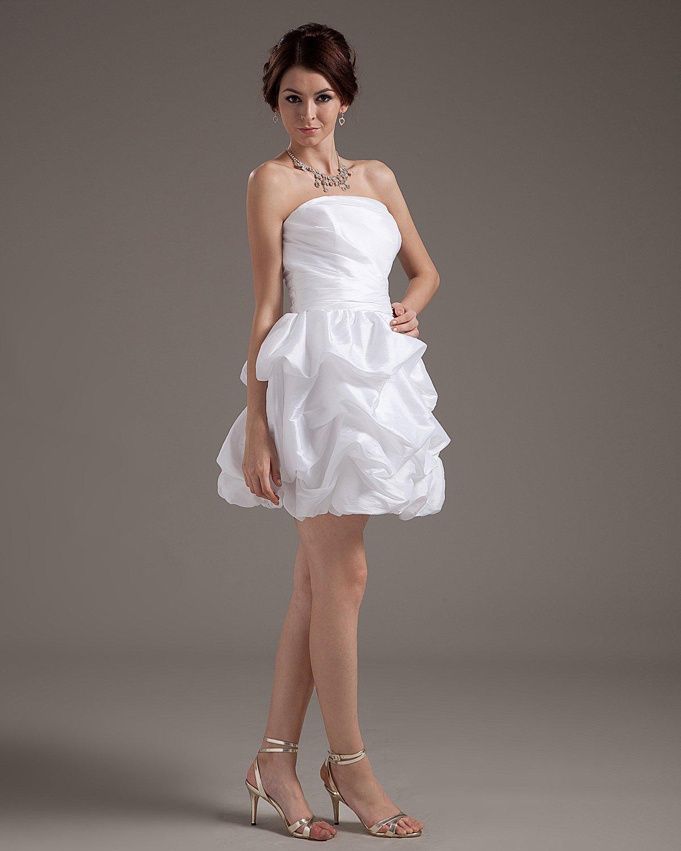 Ruffles Taffeta Sleeveless Strapless Short Mini Wedding Dresses