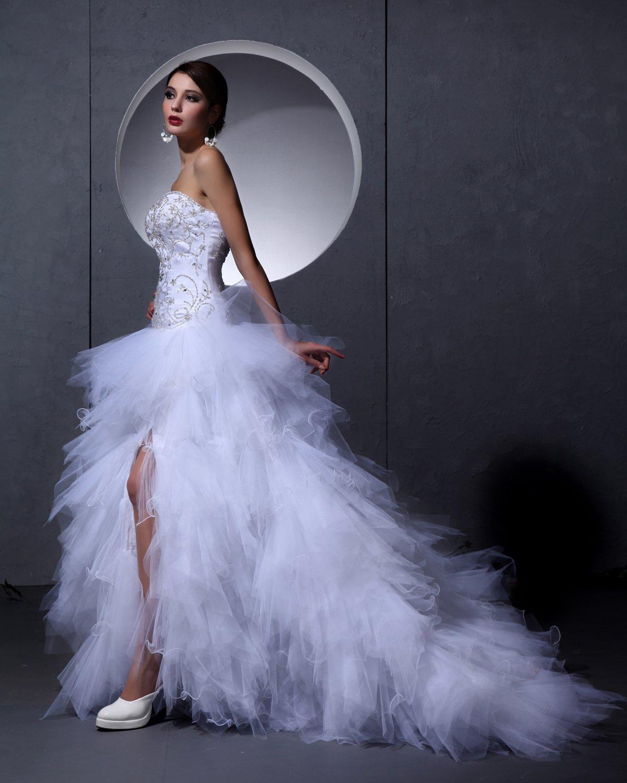 Satin Tulle Embroidery Floor Length Strapless Bead Wedding Dresses