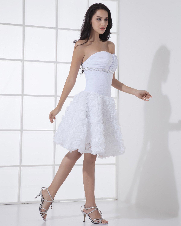 Satin Lace Sweetheart Short Bridal Gown Wedding Dress