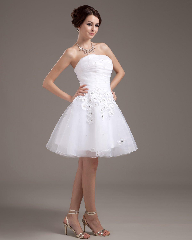 Sleeveless Mesh Satin Flowers Beading Short Mini Wedding Dresses