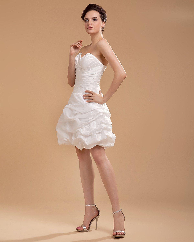Taffeta Ruffle Sweetheart Knee Length Mini Bridal Gown Wedding Dress/Graduation Dresses