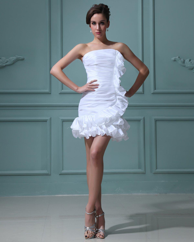 Taffeta Strapless Ruffle Short Bridal Gown Wedding Dresses