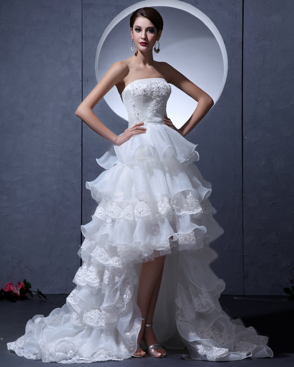 Yarn Asymmetric Strapless Ruffle Short Bridal Gown Wedding Dresses